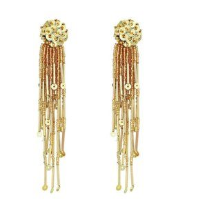 Kate Spade Gold Glitzville Beaded Tassel Earrings